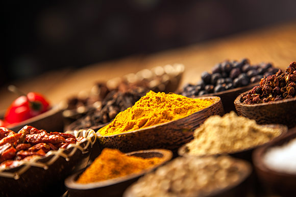 Indian restaurant Bath City, spices used in food