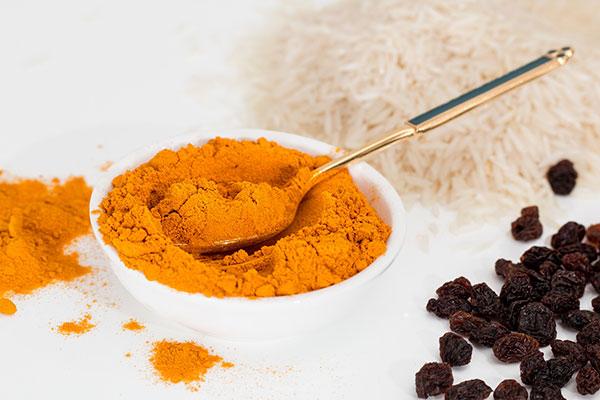 Menu page for Indian food, turmeric image